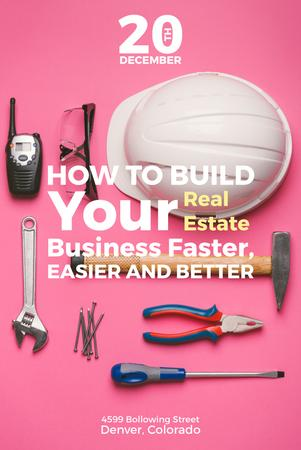 Building Business with Construction Tools on Pink Pinterest – шаблон для дизайна