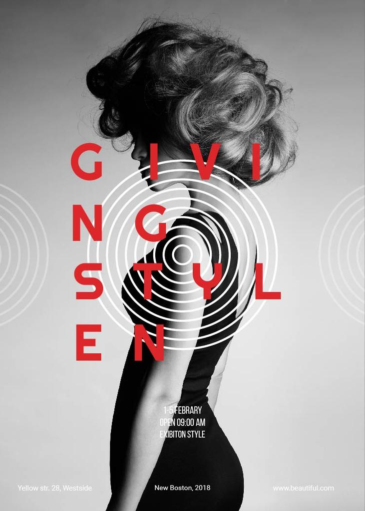 Flyer Online Designen   Fashion Collection Poster With Woman Flyer Vorlage Online Designen