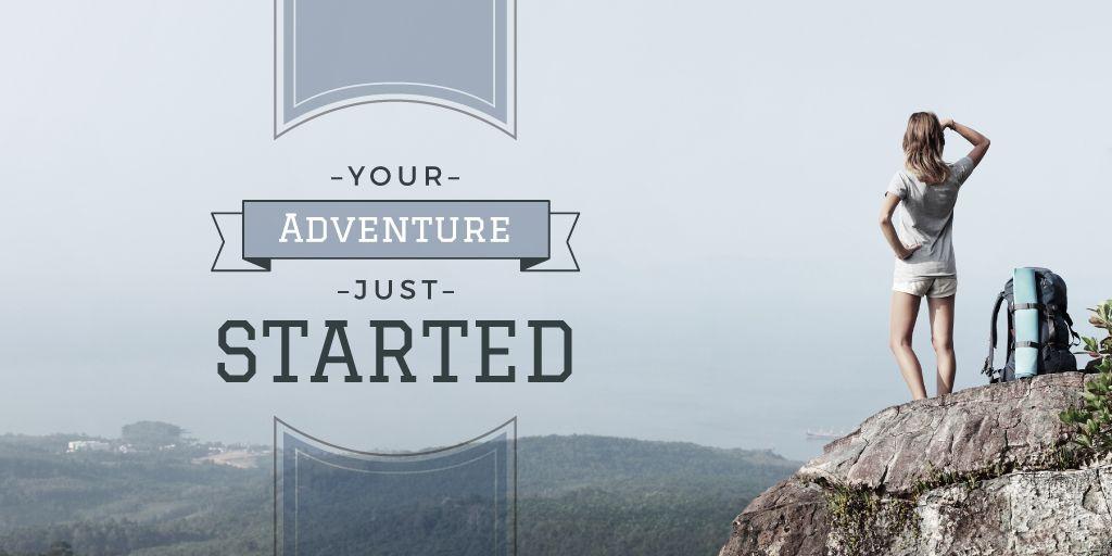 Tour Inspiration Traveler Enjoying Mountains View | Twitter Post Template — Створити дизайн