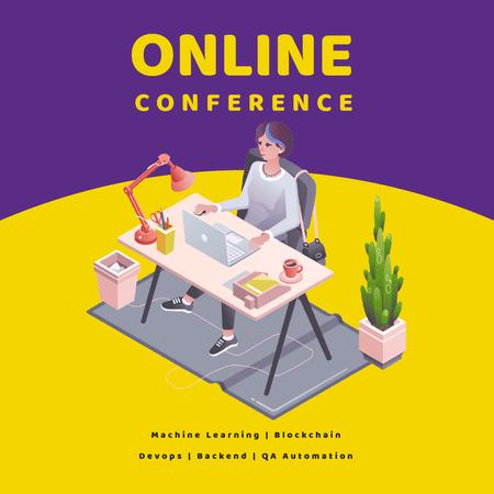 Online Conference invitation with Woman at workplace Animated Postデザインテンプレート