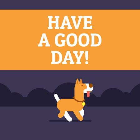 Good Day Wishing with Happy Dog Peeing Animated Post Design Template