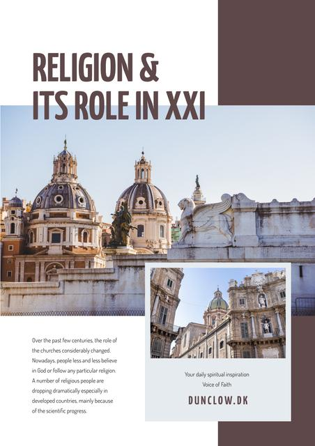 Religion role course with Church facade Newsletter Design Template