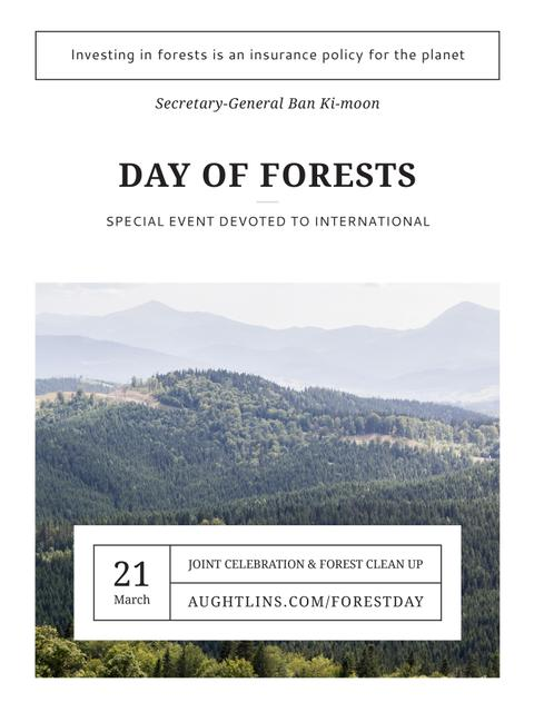 International Day of Forests Event Scenic Mountains Poster US – шаблон для дизайну