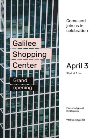 Ontwerpsjabloon van Flayer van Grand Opening Shopping Center Glass Building