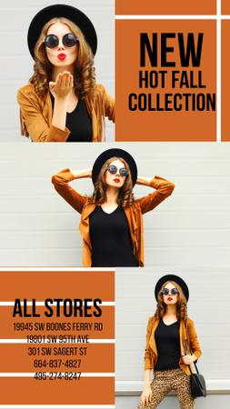 Template di design Stylish Girl wearing Suede Jacket Instagram Video Story