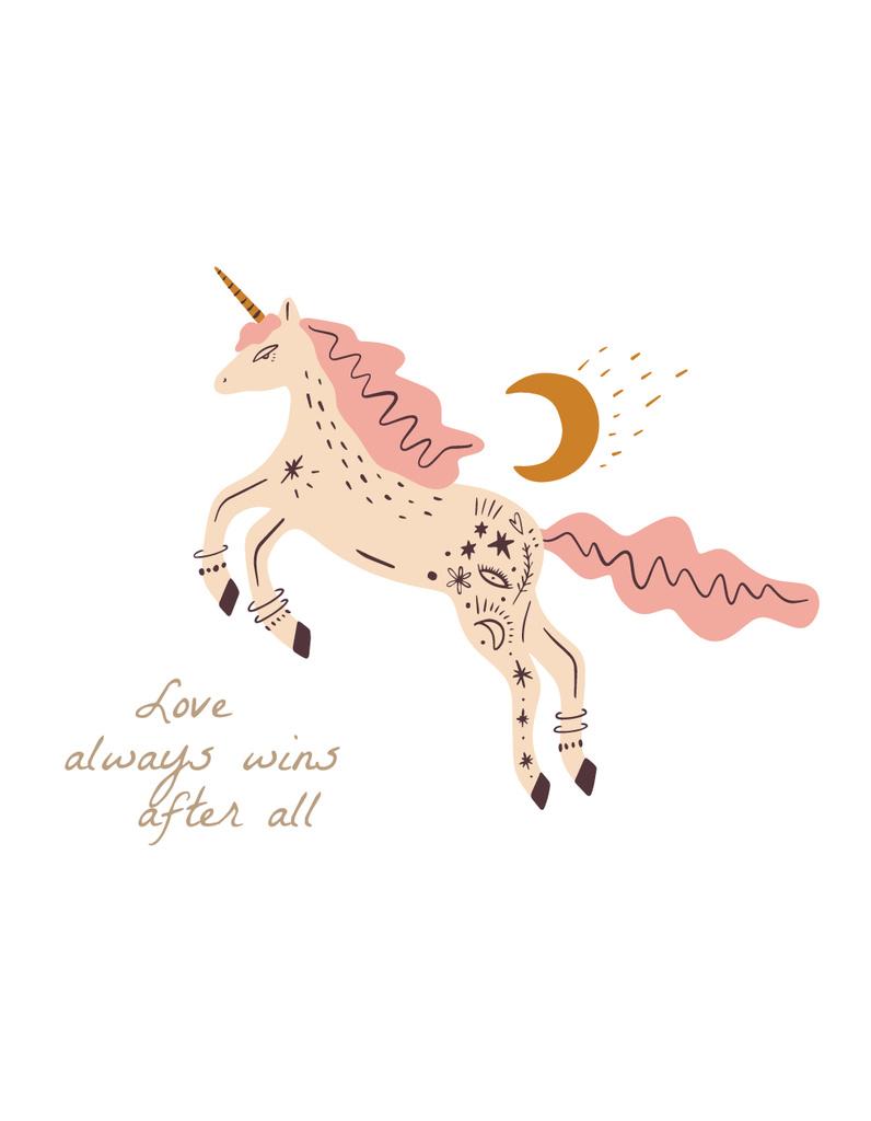 Cute Pink Unicorn with Quote — Crear un diseño