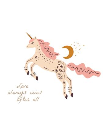 Cute Pink Unicorn with Quote T-Shirt Modelo de Design