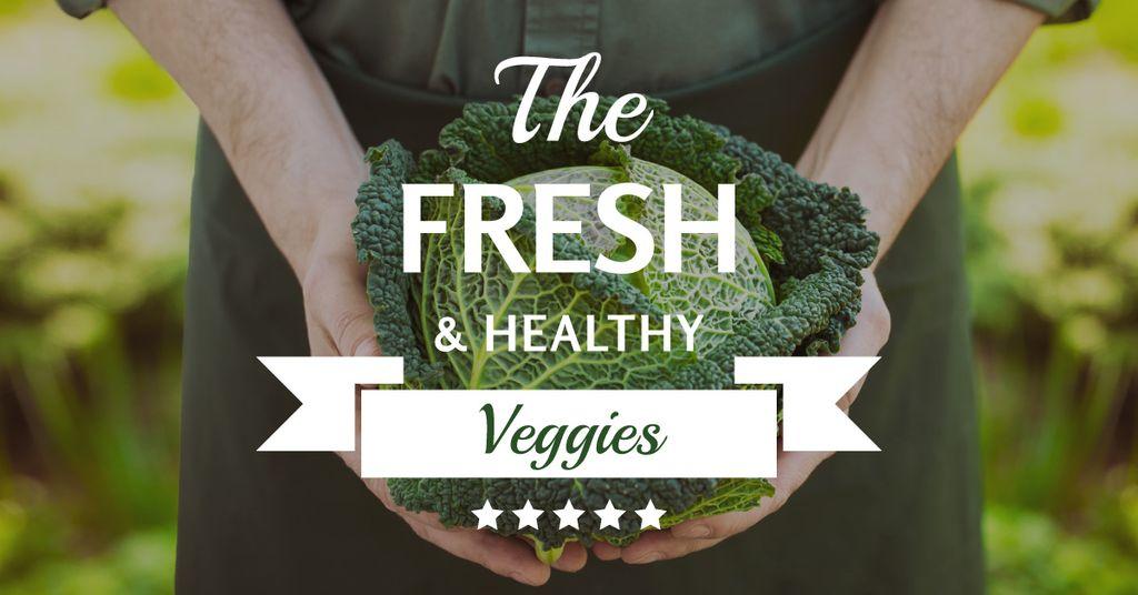 Fresh veggies poster with farmer — Crea un design