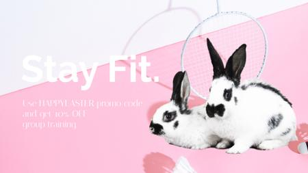 Special Easter Fitness Offer with Rabbits Full HD video – шаблон для дизайну