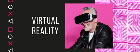 Modèle de visuel Man using vr glasses - Facebook cover