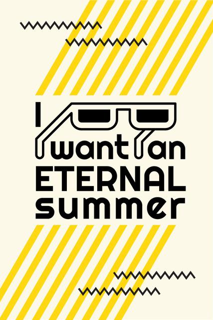 Summer Inspiration with Sunglasses on Graphic Background Pinterest Tasarım Şablonu