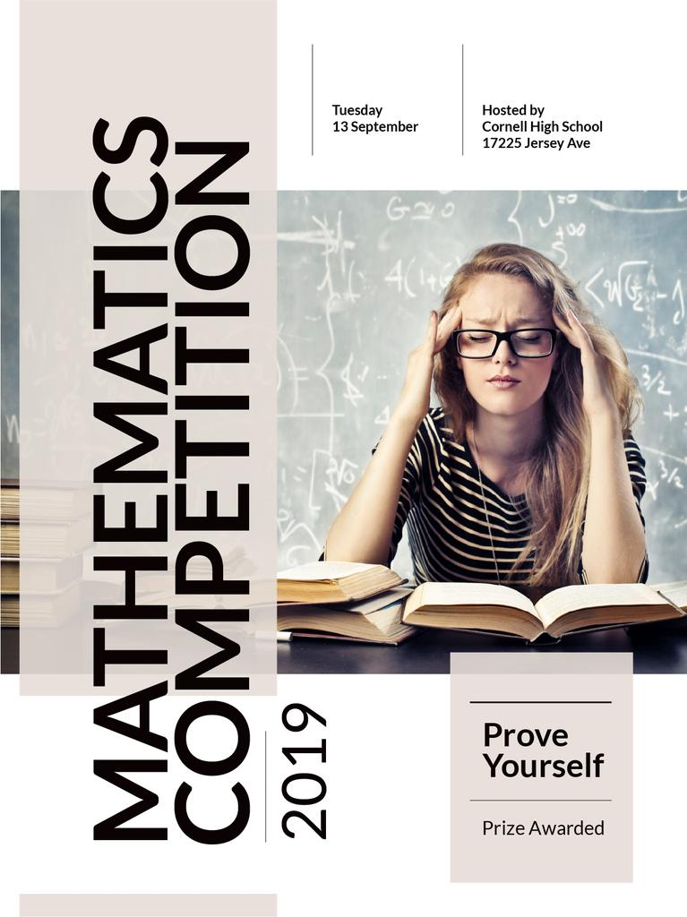 Mathematics competition announcement with Thoughtful Student — Create a Design