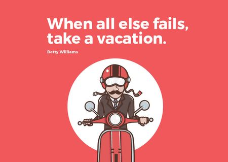 Vacation Quote Man on Motorbike in Red Postcard – шаблон для дизайну