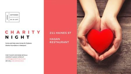 Plantilla de diseño de Charity event Hands holding Heart in Red FB event cover