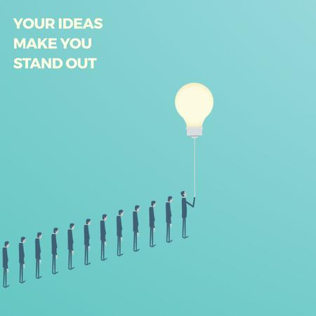 Businessman flying from queue on light bulb Animated Post – шаблон для дизайна