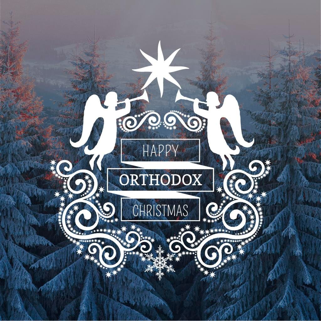 Orthodox Christmas Greeting with Snowy Forest — Створити дизайн