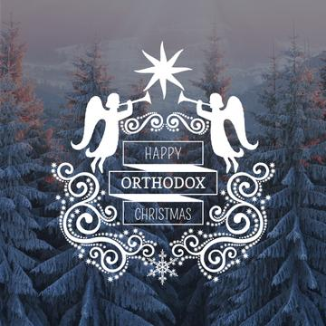 Orthodox Christmas Greeting with Snowy Forest