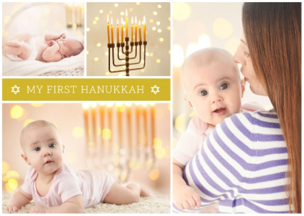 Mother with baby celebrating hanukkah — Create a Design