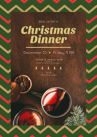 Christmas Dinner Red Mulled Wine Invitation Modelo de Design