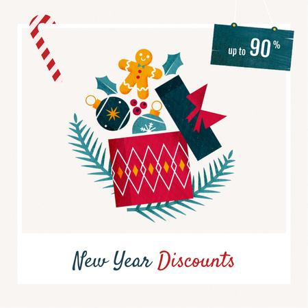 New Year Sale Winter Holidays Attributes Instagram Design Template