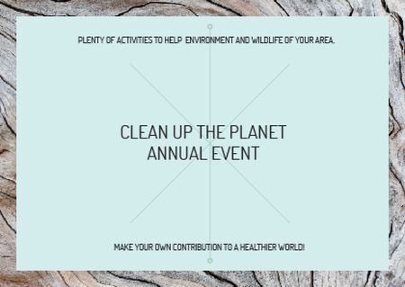 Ecological event announcement on wooden background Postcard Modelo de Design
