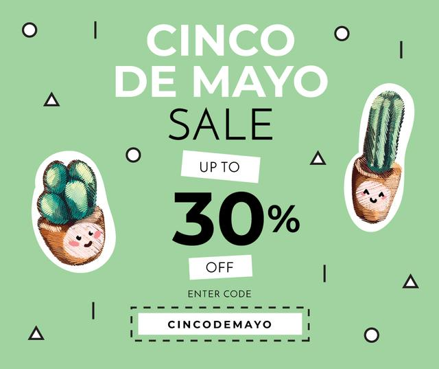 Modèle de visuel Cinco de Mayo Cactus sale - Facebook