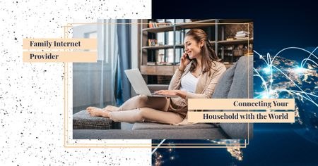Woman working on laptop Facebook AD Design Template