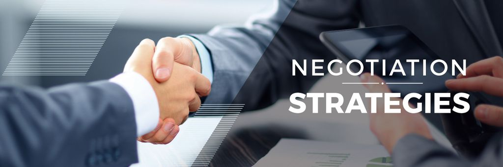 negotiation strategies poster with business people shaking hands — Создать дизайн