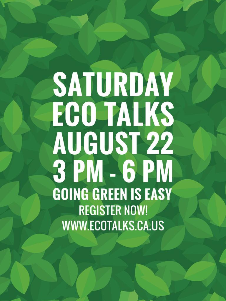 Ecological Event Announcement Green Leaves Texture — Crea un design