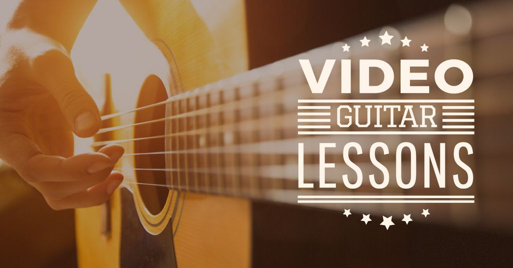 Video Guitar Lessons Man Playing Music | Facebook Ad Template — ein Design erstellen