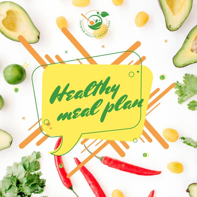 Healthy Food Concept with Fresh Vegetables Instagram Tasarım Şablonu