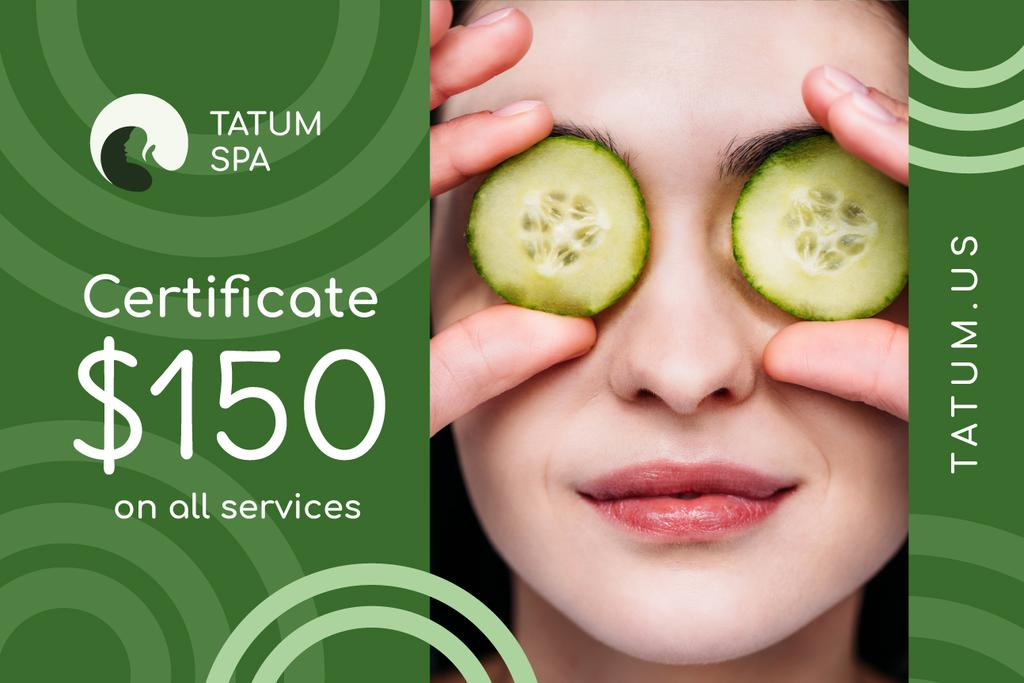 Spa Offer Woman with Cucumbers on Face | Gift Certificate Template — ein Design erstellen