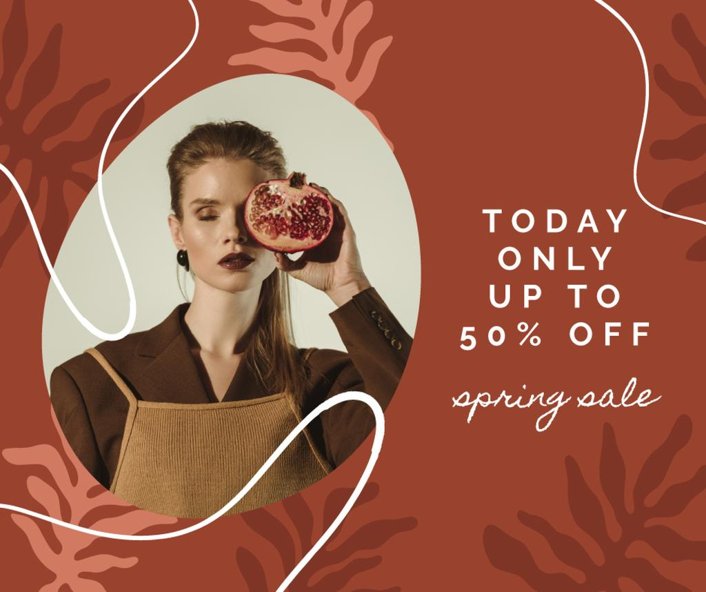Stylish Woman with pomegranate on Women's Day — Створити дизайн
