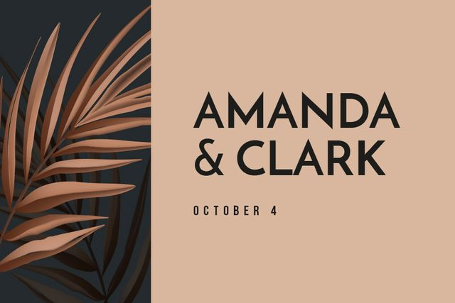 Template di design Wedding announcement on pink Leaves Label