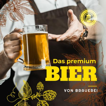 Ontwerpsjabloon van Instagram van Oktoberfest Offer Beer in Glass Mug