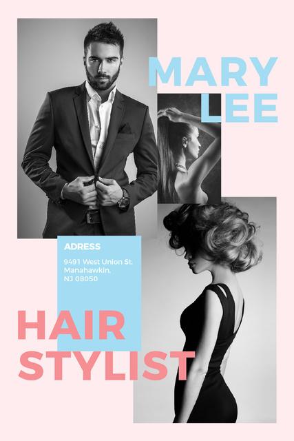 Plantilla de diseño de Fashion Ad Woman and Man with modern hairstyles Tumblr