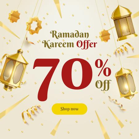 Ramadan Kareem Offer Golden Lanterns Instagramデザインテンプレート