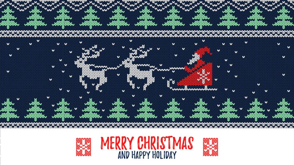 Santa riding in sleigh over forest — Create a Design