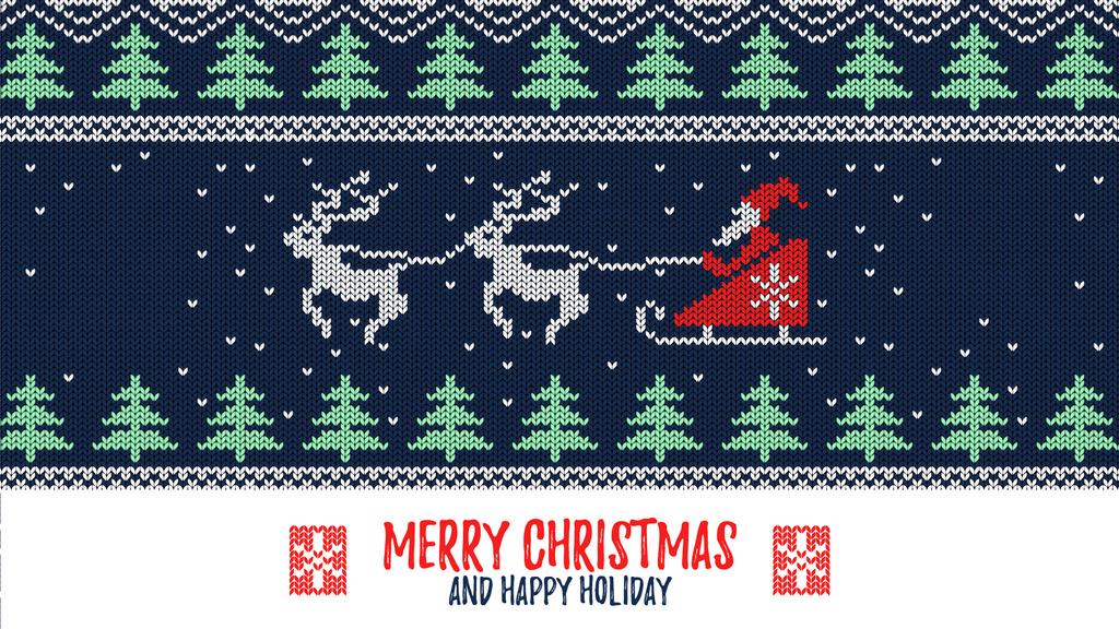 Santa riding in sleigh over forest — Crear un diseño