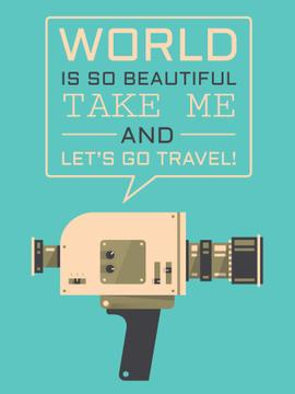 Motivational Travel Quote Vintage Camera | Poster Template