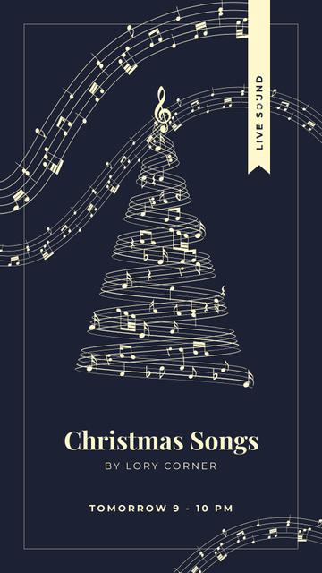 Ontwerpsjabloon van Instagram Story van Christmas tree with music notes