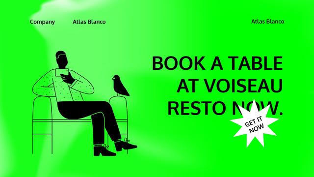 Restaurant Booking App Services with Man and Bird Full HD video Modelo de Design