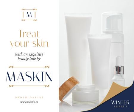 Cosmetics Ad Skincare Products Mock up Facebook Modelo de Design
