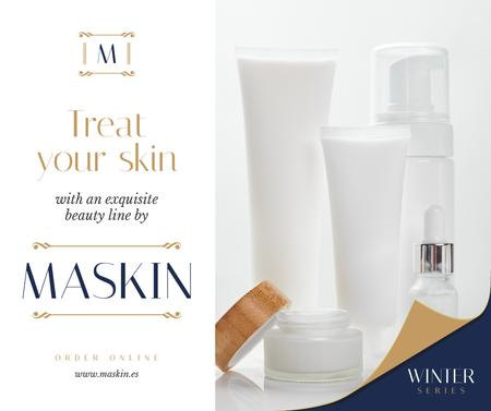 Plantilla de diseño de Cosmetics Ad Skincare Products Mock up Facebook