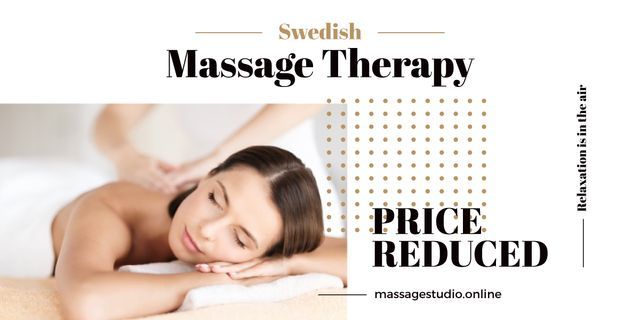 Woman at Swedish Massage Therapy Image Design Template