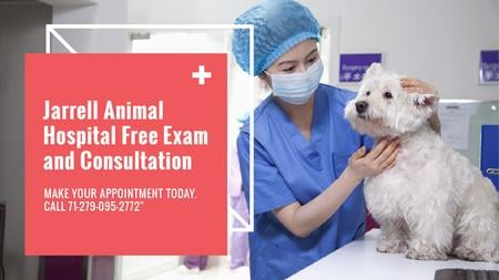Vet Clinic Ad Doctor Holding Dog Title – шаблон для дизайна