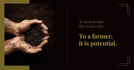 Farmer Holding Soil in Hands Facebook AD Modelo de Design