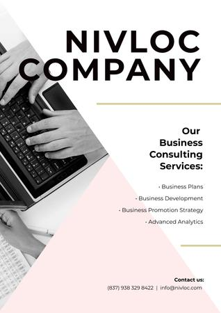 Plantilla de diseño de Business Services Ad with Worker Typing on Laptop Poster