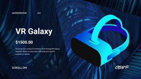 Virtual Reality Glasses Offer in Blue Full HD video Modelo de Design