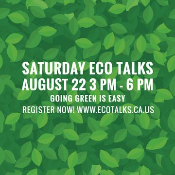 Saturday Eco Talks on Green Leaves